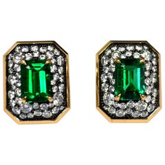 Emerald Diamond Art Deco 18 Karat Gold Stud Earrings