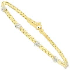 14 Karat Yellow Gold Five Diamond Mesh Bangle