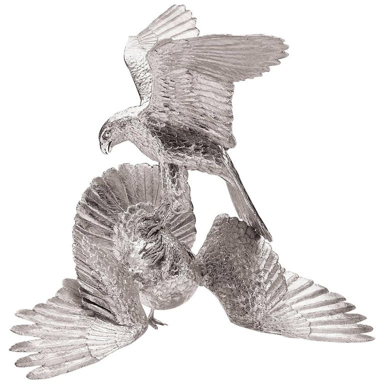 The Saker Falcon Attacking & Houbara Bustard Sterling Silver