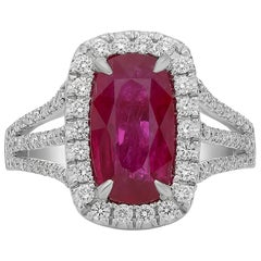 3 Carat Ruby Diamond Pave Ring