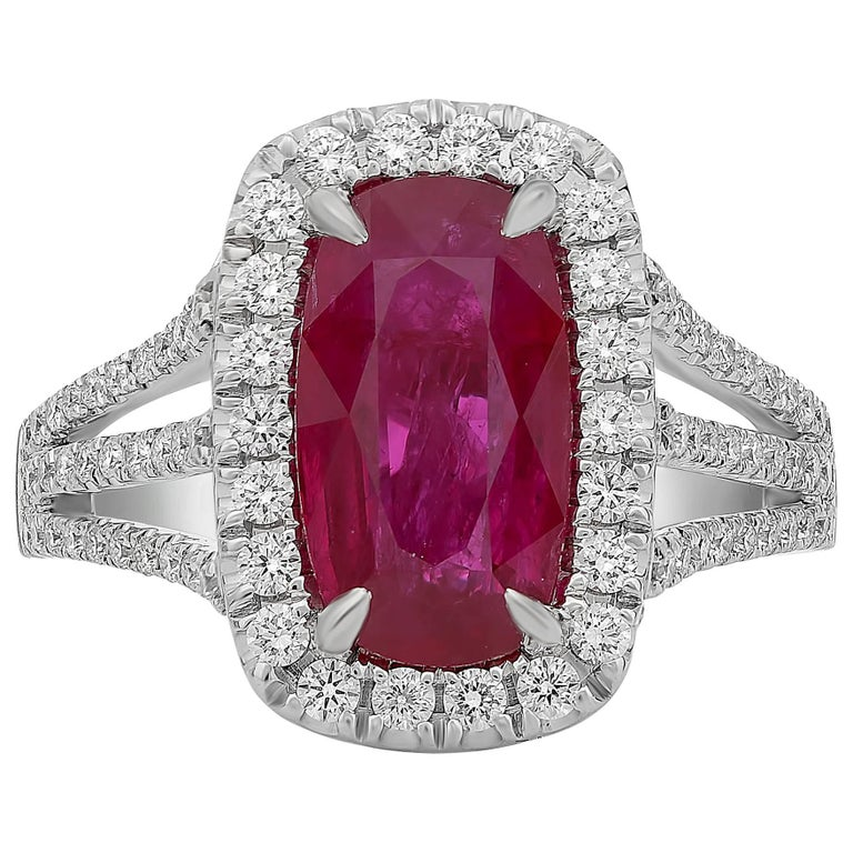 3 Carat Ruby Diamond Pave Ring  For Sale