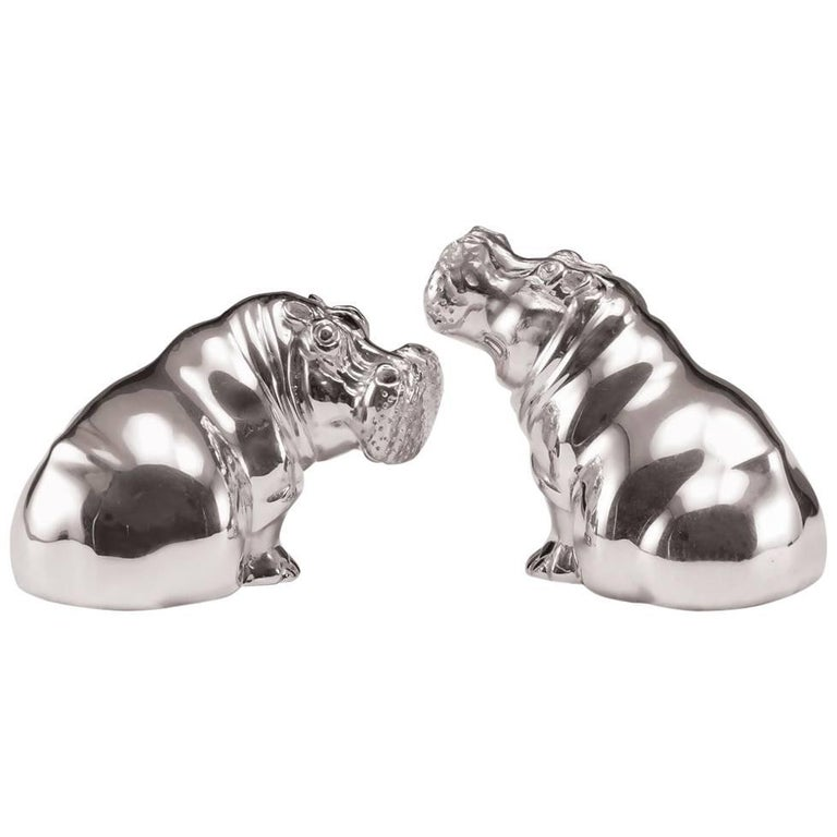 Hippo Salt and Pepper Sterling Silver Shakers