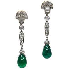 GIA Certified 16.25 Carat Zambian Pear Cabochon Emerald Diamond Drop Earrings