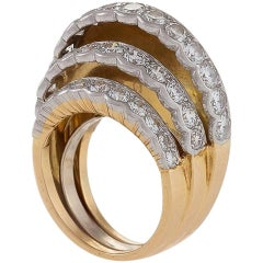 Cartier Paris Retro 'Step' Diamond and Gold Ring