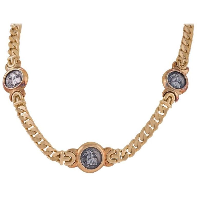 Bulgari 1980s Gold and Ancient Coin Necklace or Bracelet