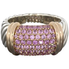 David Yurman Silver Rose Gold Pave Pink Sapphire Ring
