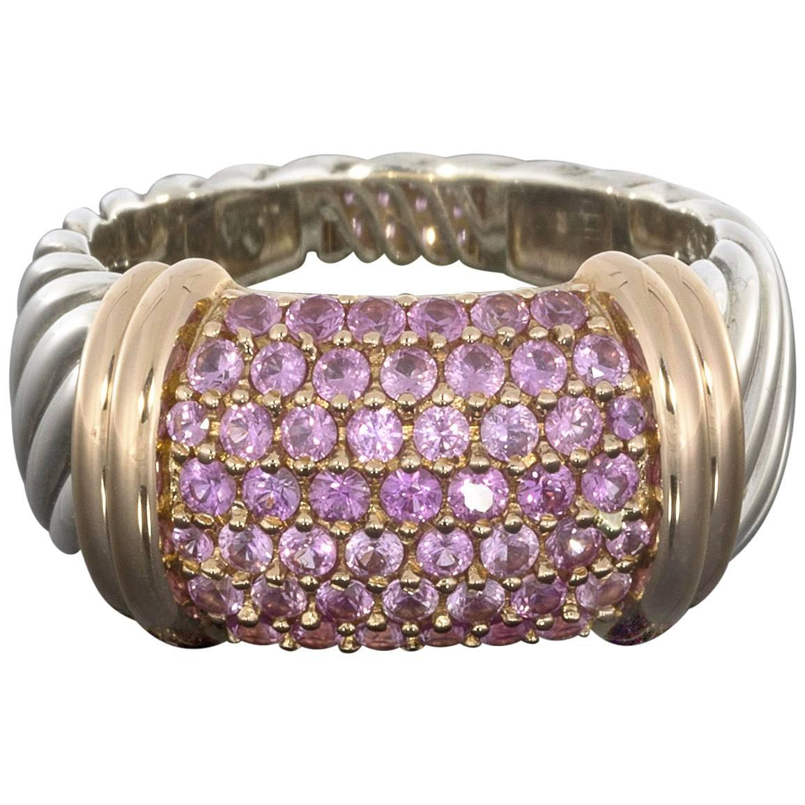 david yurman silver rose gold pave pink sapphire ring