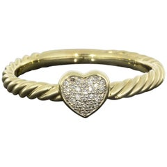 David Yurman Pave Diamond Petite Heart Gold Stack Ring