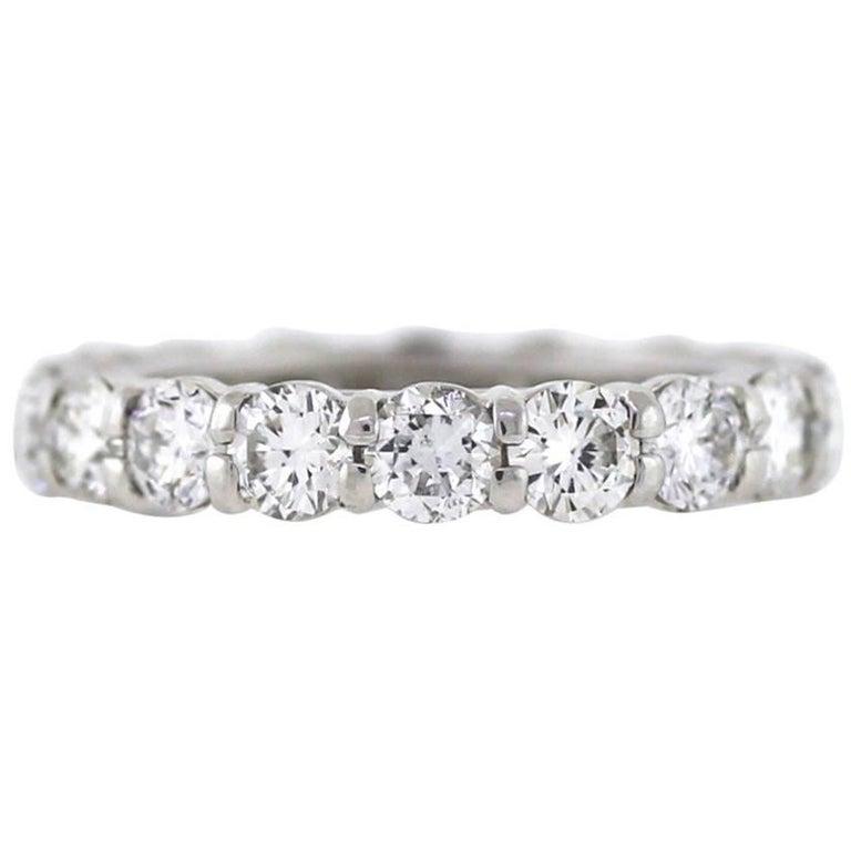 Round Diamond Platinum Eternity Band 3.58 Carat For Sale