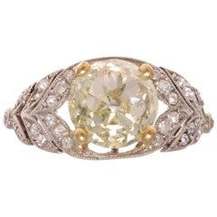Art Deco 2.59 Carat Diamond Platinum Engagement Ring