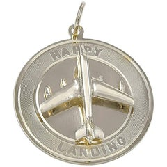 Gold Airplane Happy Landing Charm