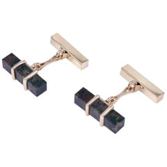 Gold and Bloodstone Tiffany & Co. Cufflinks