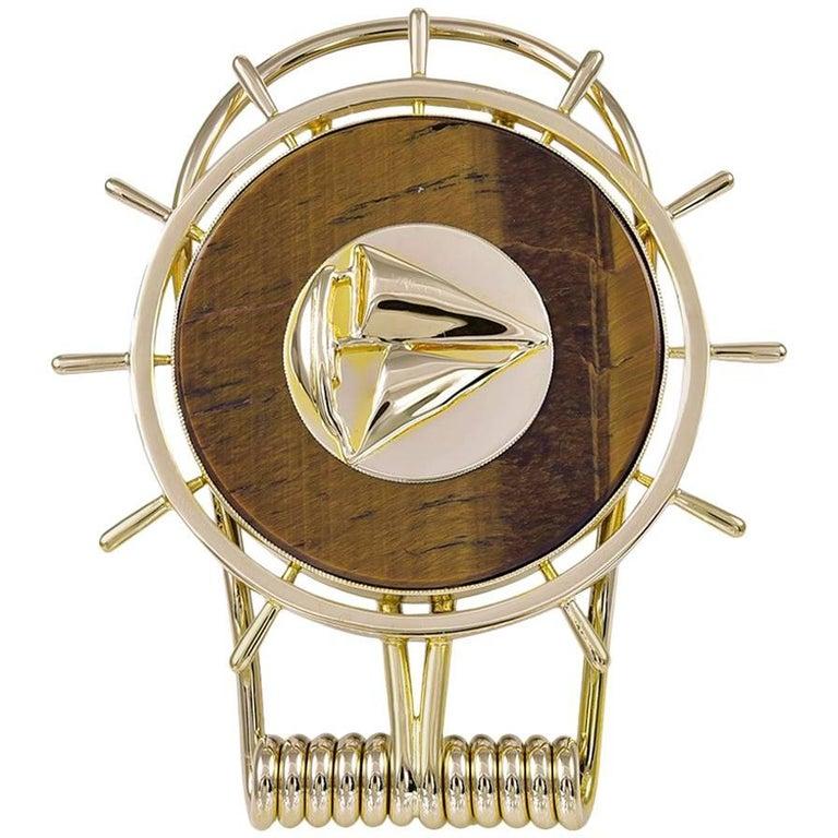 Large Gold and Tiger Eye Sailboat Money Clip