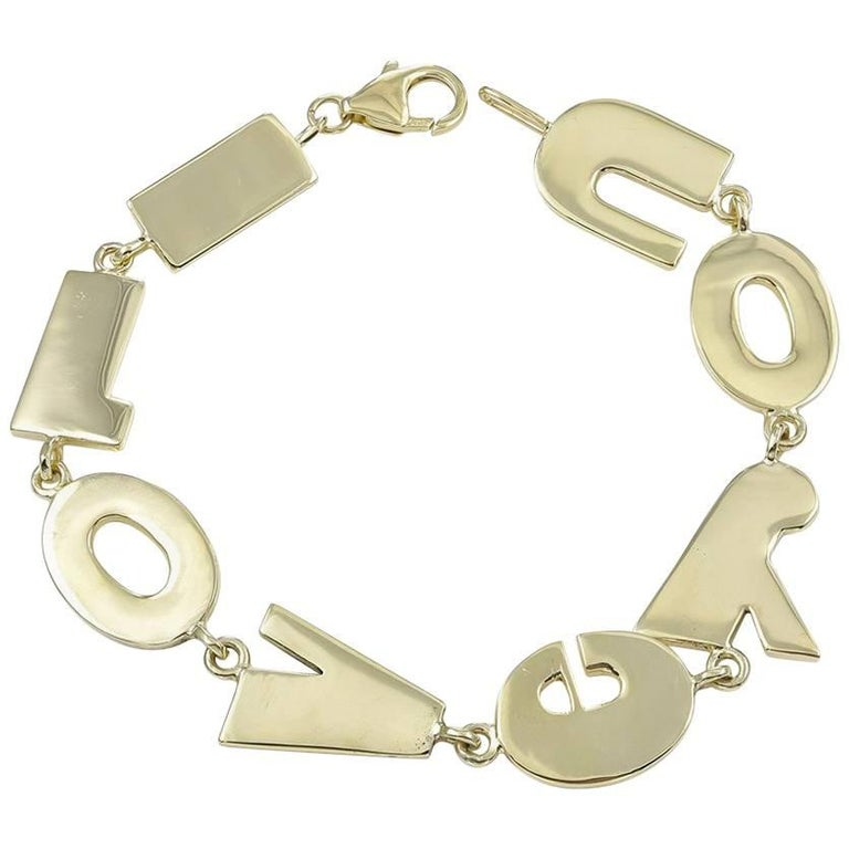 """I Love You"" Gold Charm Bracelet"