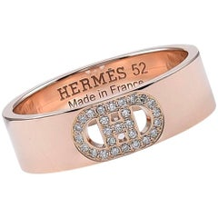 Hermes Gold and Diamond H d' Ancre Ring