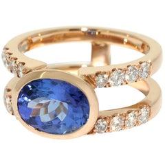 Lizunova Tanzanite and Diamond Rose Gold Ring