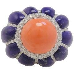 Retro Lapiz Lazuli, Diamonds and Coral, White Gold Dome Ring