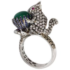 Retro 18 Karat White Gold, Diamonds, Emeralds, Sapphires and Rubies Fashion Ring