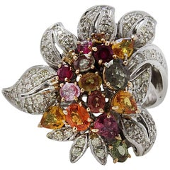 Rose and white gold Diamonds and Sapphires Cluster flower  Ring