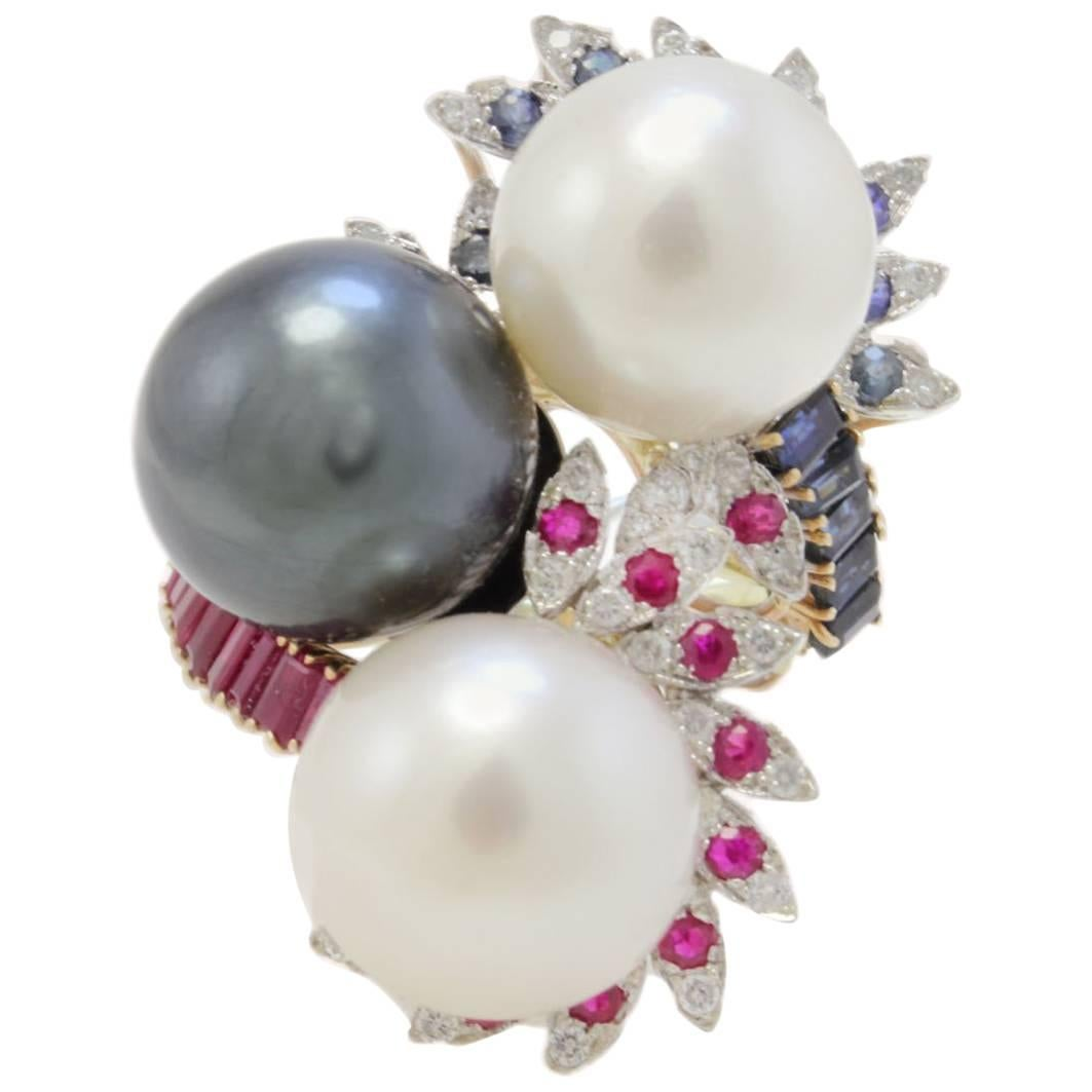 Retro Rose White and Yellow Gold Diamonds Rubies Sapphires and Pearls Ring