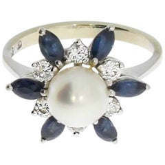 1960s Pearl Sapphire Diamond Gold Ring