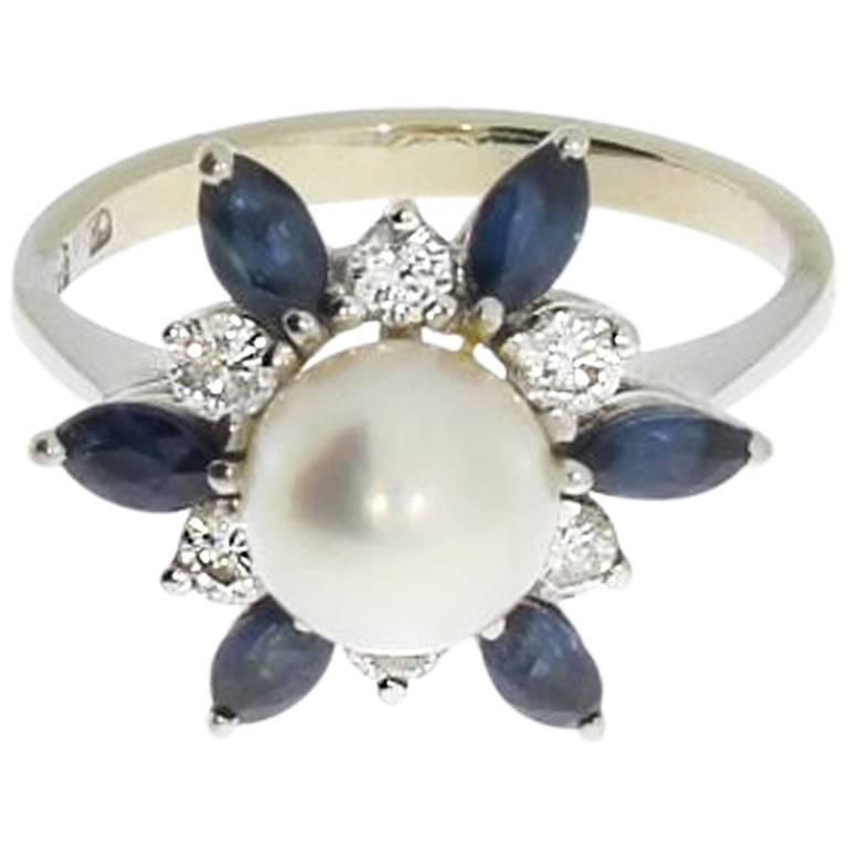 1960s Pearl Sapphire Diamond Gold Ring