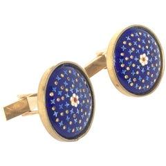 Cufflinks Gold Plate Enamel Blu