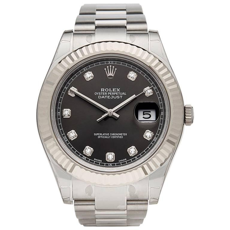 Rolex White Gold Stainless Steel Datejust II Automatic Wristwatch, Ref 116334