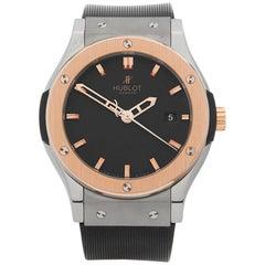 Hublot Titanium Rose Gold Classic Fusion Zirconium Automatic Wristwatch