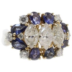 Retro Yellow and Rose Gold Diamonds and Blue Sapphires Ring