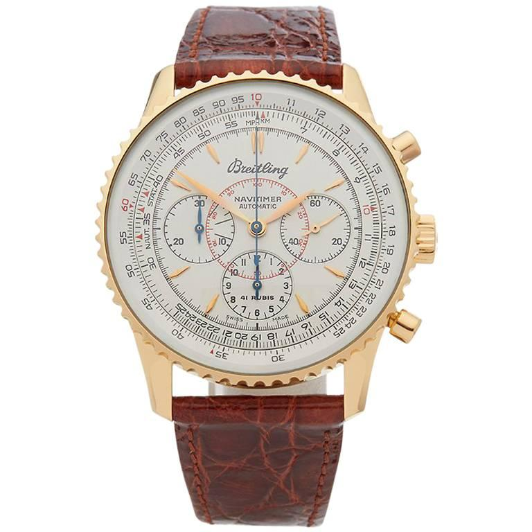 Breitling Yellow Gold Montbrillant Chronograph Automatic Wristwatch, 1990s