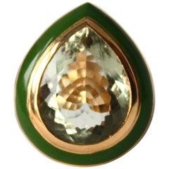 Green Amethyst Drop Enamel Gold Ring