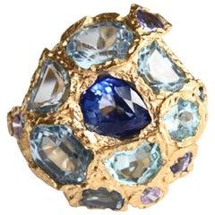 Blu Sapphire Acquamarina Tanzanite Ring Gold