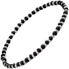 Men's Vintage Black Beaded Bracelet with Silver by Allison Bryan