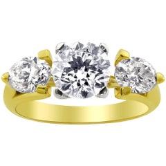 WGI Two-Tone with Three Diamonds Ring
