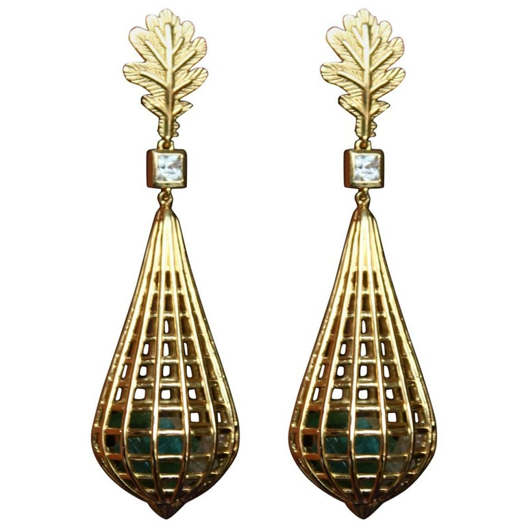 Gold Cage Earrings Tourmaline Sapphire