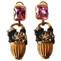 Pink Sapphire Gold Silver Earrings