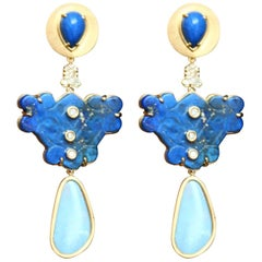 Lapis Lazuli Opal Diamonds Earrings