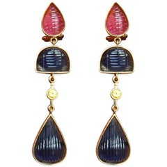 Tourmaline Sapphire Gold Earrings