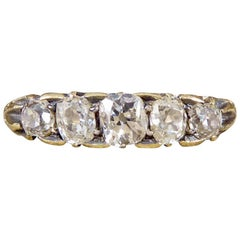Antique Five-Stone Old-Cut Diamond Ring Set in 18 Carat Gold