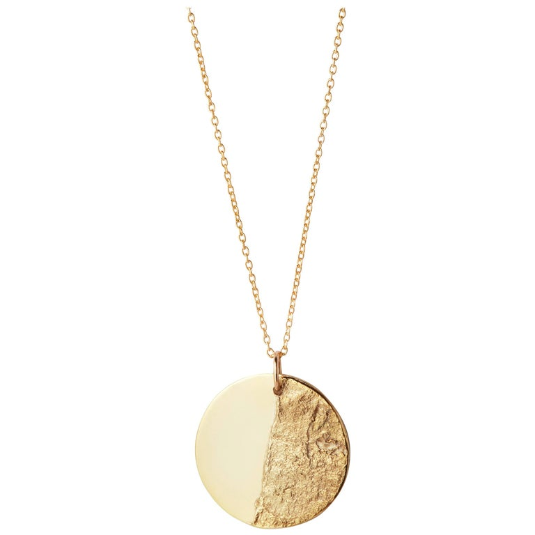 Split Disc Necklace in 18 Karat Yellow Gold by Allison Bryan