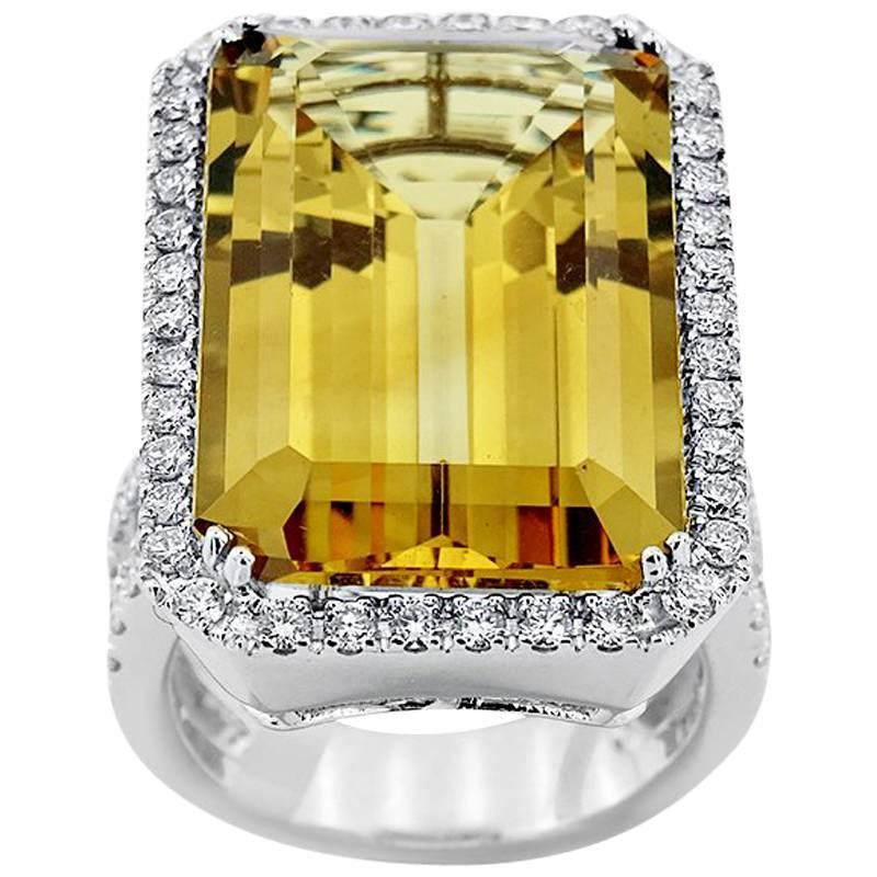 Citrine and Diamond Ring