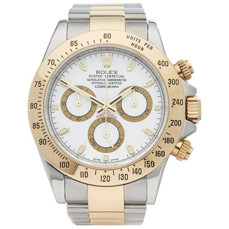 Rolex Yellow Gold Stainless Steel Daytona Chronograph Automatic Wristwatch, 2009 For Sale
