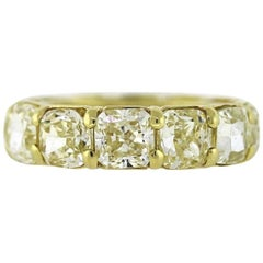 Fancy Yellow Diamond Eternity Band Cushion Cut 12.40 Carat