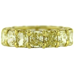 Fancy Intense Yellow Diamond Eternity Band Radiant Cut 8.65 Carat