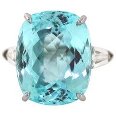 28.07 Carat Paraiba Tourmaline Diamond Cocktail Ring