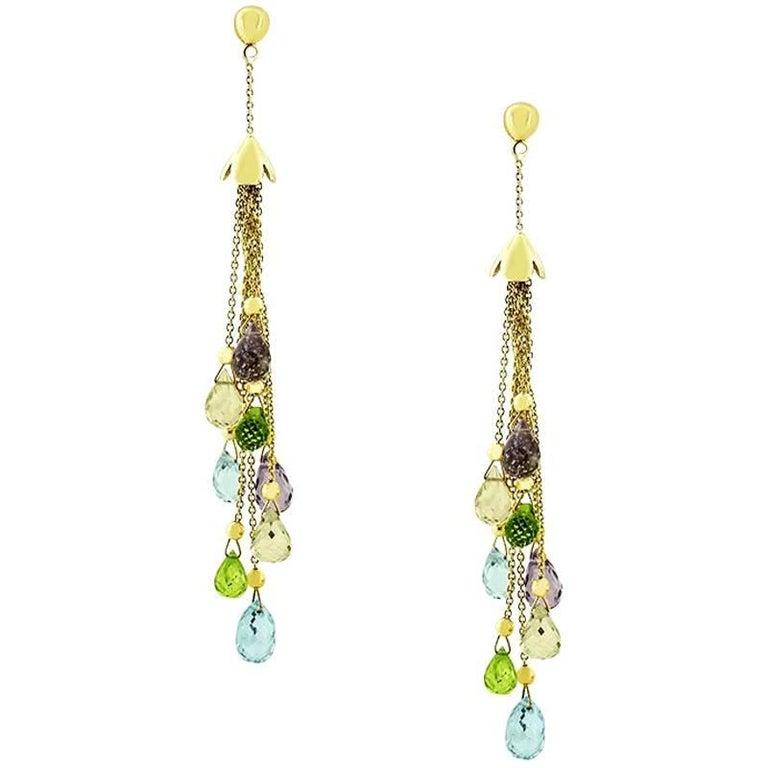 Yellow Gold Semi Precious Stone Earrings
