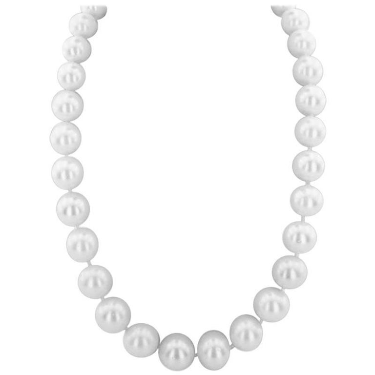 South Sea Pearl and Diamond Necklace For Sale