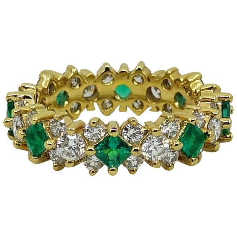 2.32 Carat Emerald and Diamond Eternity Yellow Gold Band