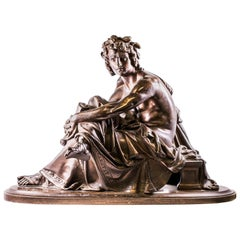 19th Century Albert-Ernest Carrier-Belleuse Bronze Sculpture of Seated Virgil